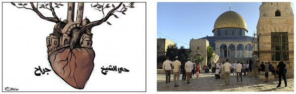 """Right: The Palestinian media gives extensive coverage to the visit of Jews to the Temple Mount (Palinfo Twitter account, May 27, 2021). Left: Sheikh Jarrah, """"the heart of Jerusalem,"""" an idea promoted by the PA to illustrate the determination to fight against the eviction of Palestinian families from the neighborhood (al-Hayat al-Jadeeda, June 1, 2021)."""