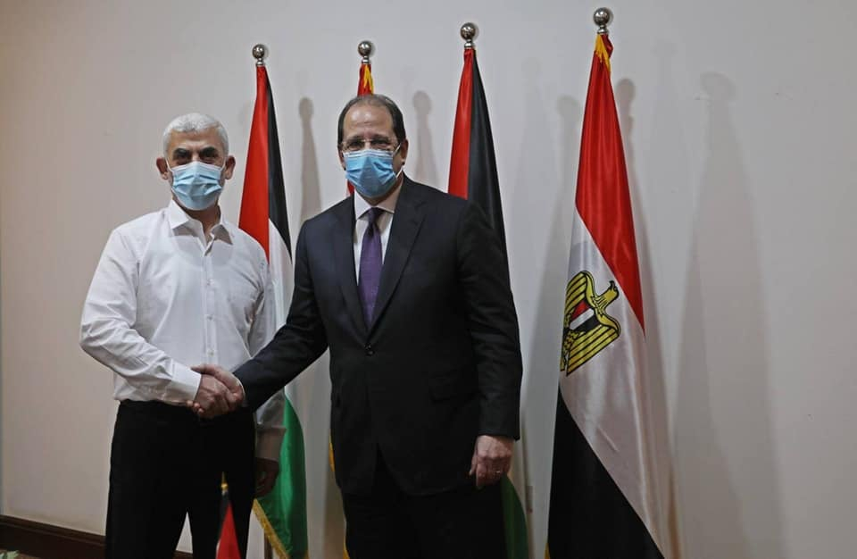 Abbas Kamel, head of Egyptian General Intelligence, visits the Gaza Strip and meets with Yahya al-Sinwar, head of the Hamas political bureau in the Gaza Strip (QudsN Facebook page, May 31, 2021).