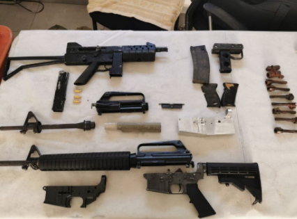 Some of the confiscated weaponry (Israel Police Force, June 7, 2021).