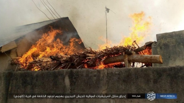 Militiamen's houses in the village of Kawaji that were set on fire by ISIS operatives (Telegram, June 6, 2021)