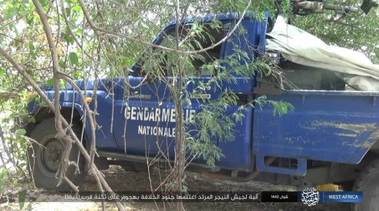 One of the four vehicles seized by ISIS operatives (Telegram, June 6, 2021)