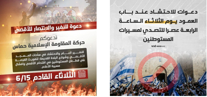 """Right: Calls for Palestinians to gather at the Damascus Gate to """"resist"""" flag march participants. Left: Hamas calls for a general mobilization """"for the sake of al-Aqsa mosque"""" and for a massive gathering of Palestinians in front of al-Aqsa mosque and in the streets of the Old City in east Jerusalem to keep Jews from entering the Temple Mount compound and to sabotage the flag march (QudsN Facebook page, June 14, 2021)."""