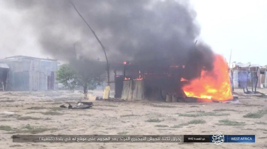 Buildings in the camp set on fire by ISIS operatives (Telegram, June 15, 2021).