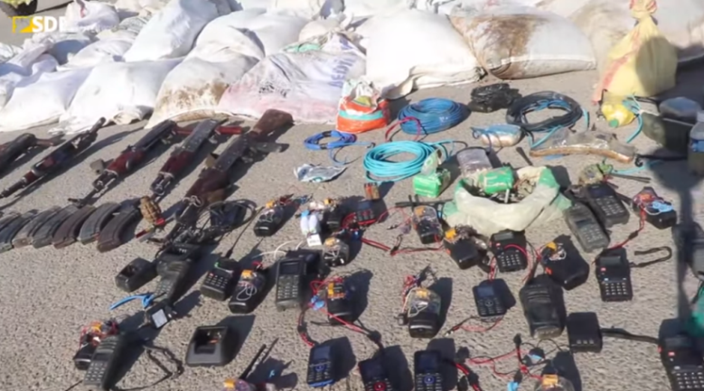 Some of ISIS's weapons found in the village of Al-Basira.