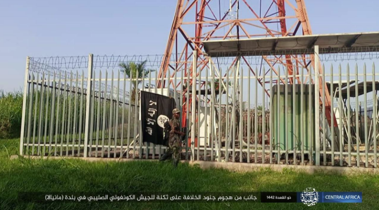 ISIS operative hanging a flag on a high-voltage pylon (Telegram, June 29, 2021)