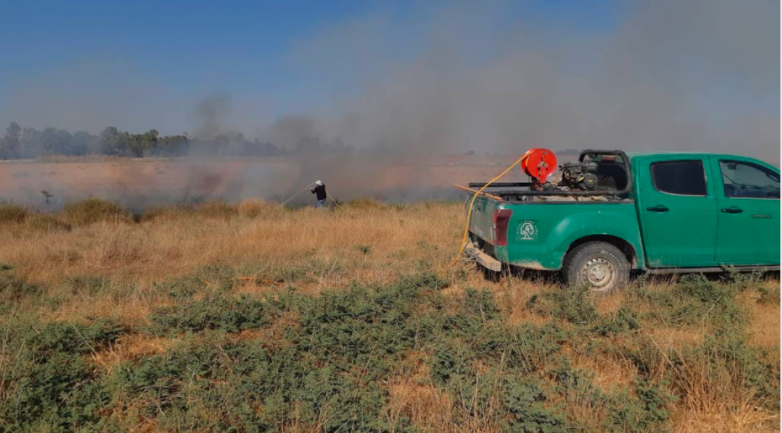 Fires in Israeli territory near the Gaza Strip ignited by incendiary balloons (Facebook page of the Descendants of al-Nasser unit, July 1 and 2, 2021).