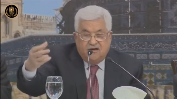 Mahmoud Abbas opens the Palestinian National Council conference in Ramallah (Wafa YouTube channel, April 30, 2018)