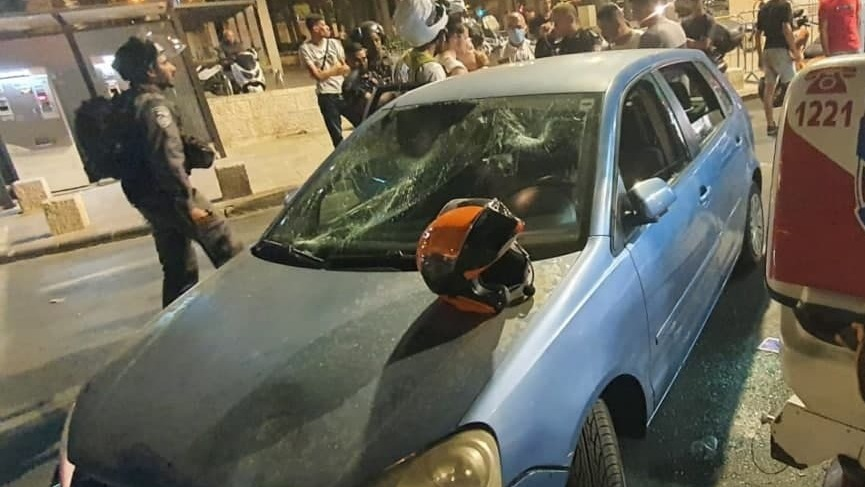 The vehicle after the attack near the Damascus Gate (United Hatzalah, July 19, 2021).