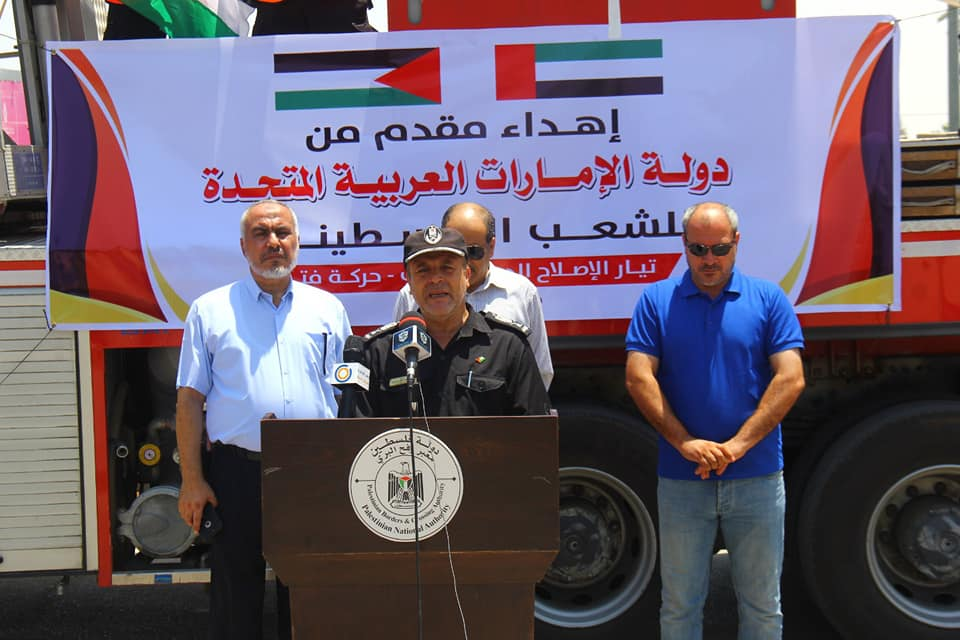 Taking possession of the firetruck (ministry of the interior in Gaza Facebook page, July 19, 2021).
