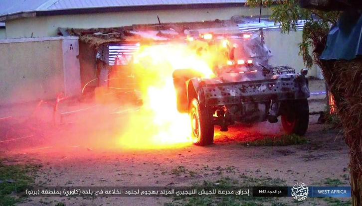 One of the armored vehicles set on fire by ISIS operatives.