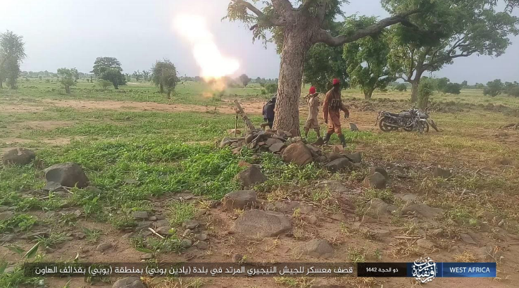 Mortar bomb being fired at a Nigerian army base (Telegram, July 15, 2021)