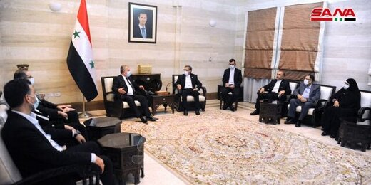 The meeting of the Iranian parliamentary delegation with the Syrian Prime Minister, Arnous. (SANA, July 9)