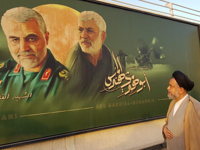 The Iranian minister of intelligence visits the location of the assassination of Qasem Soleimani and Abu Mahdi al-Muhandis near the Baghdad Airport. (Fars, July 14)