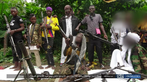 ISIS operatives in the Congo displaying their weapons (Telegram, July 23, 2021)
