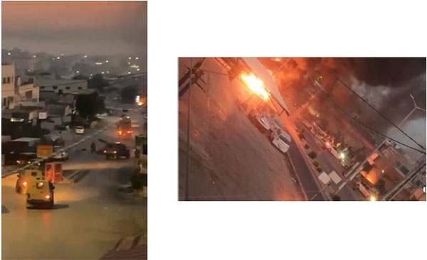 Clashes in Jenin. Right, from the Twitter account of Ultra Palestine, August 3, 2021; left, from the Facebook page of journalist Ali Samoudi, Jenin, August 3, 2021.