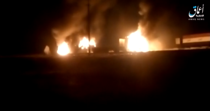 Three of the Iraqi army vehicles going up in flames (Telegram, August 2, 2021)