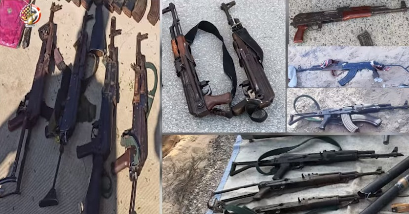 Weapons seized (Facebook page of the Spokesman for the Egyptian Armed Forces, August 1, 2021)