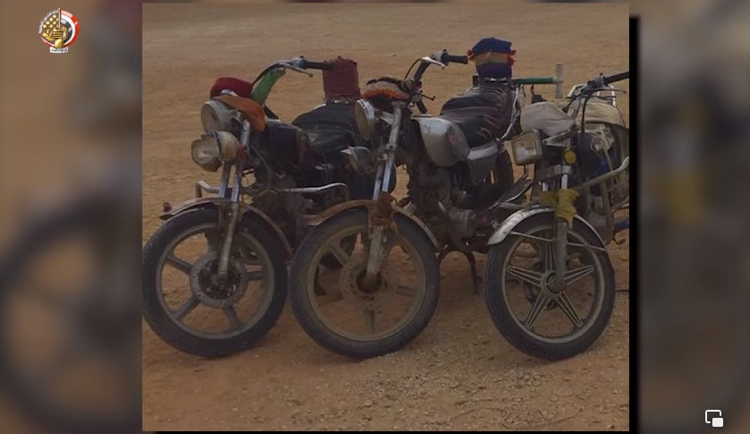 Motorcycles found and destroyed (Facebook page of the Spokesman for the Egyptian Armed Forces, August 1, 2021)