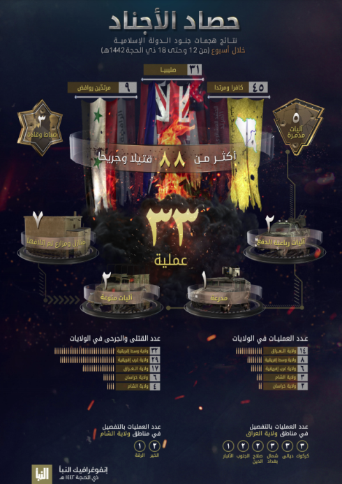 The infographic as it appeared on ISIS's Al-Naba' weekly (Al-Naba' weekly, Telegram, July 30, 2021)