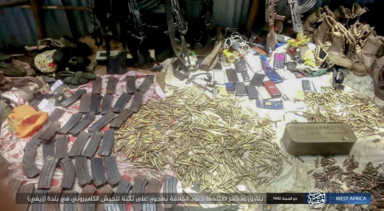Documentation of the attack by ISIS operatives against the army camp. Left: Ammunition that was seized (Telegram, August 3, 2021)