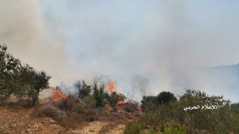 Fires caused by IDF artillery fire in wooded areas (Hezbollah military wing information website, August 4, 2021).