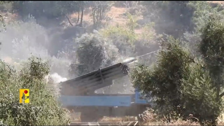 Pictures from a Hezbollah video documenting rocket fire at the Sheba Farms (Hezbollah military wing information website, August 6, 2021).