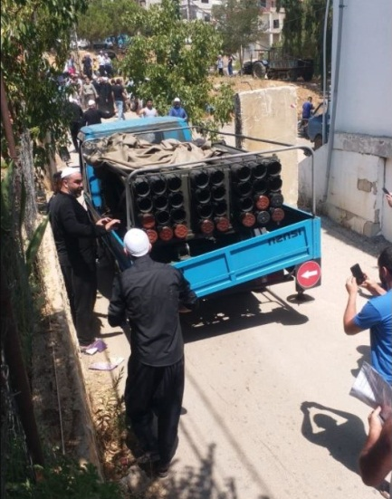 Residents of the Druze village of Chouya in south Lebanon stop the vehicle carrying the artillery that fired rockets at Israel and detain the operatives of the launching squad (Right: Al-Nahar, August 6, 2021