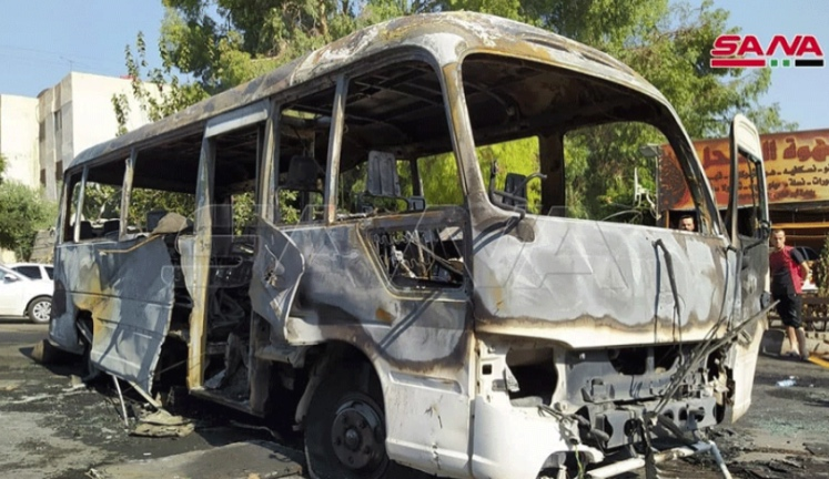 The bus which was attacked (SANA, August 4, 2021)