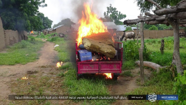 Vehicles of Christian militias in Anshika set on fire by ISIS (Telegram, August 9, 2021)