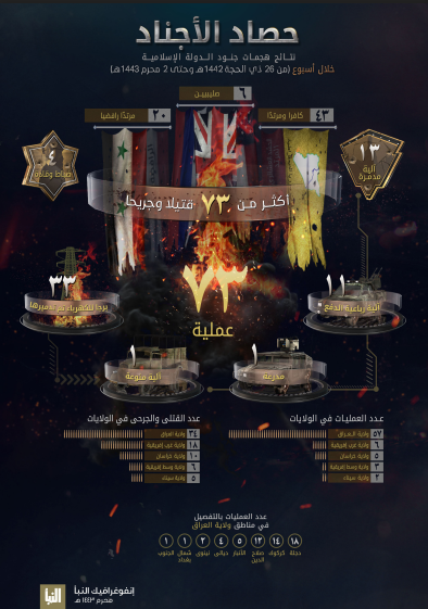 The infographic detailing ISIS's activity (Al-Naba' weekly, Telegram, August 12, 2021)