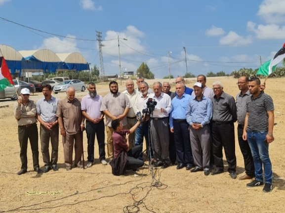 Palestinian terrorist organizations hold a press conference (Twitter account of journalist Hassan Aslih, August 22, 2021).