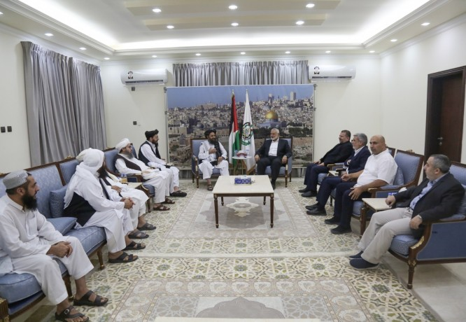 Official photos released by Hamas from a senior meeting with a senior Taliban delegation led by Mullah Abdul Ghani Baradar in May 2021 (Hamas website in Arabic, August 17, 2021)