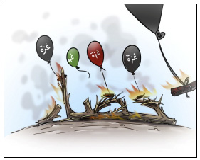 """Incendiary balloon launchers claim they will continue their activities until the """"siege"""" is lifted. The Arabic reads, """"Gaza,"""" """"Siege"""" (Facebook page of Palestinian cartoons, August 29, 2021)."""