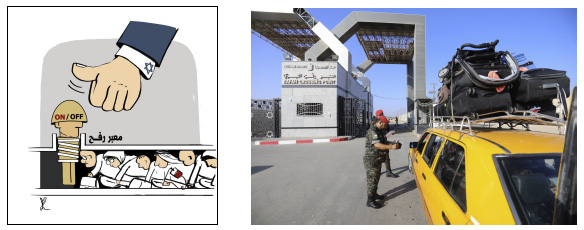 """Right: The Rafah Crossing opens (Safa, August 29, 2021). Left: Israel """"controls"""" whether the Rafah Crossing is open or closed (Isma'il al-Bazam's Facebook page, August 24, 2021)"""