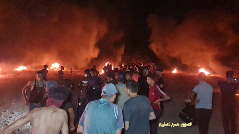 Night harassment unit activities to the east of Gaza City (Twitter account of journalist Hassan Aslih, August 28, 2021).