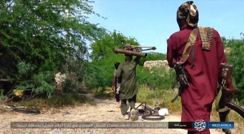 ISIS operatives en route to firing rockets at a Nigerian army base (Telegram, August 27, 2021).