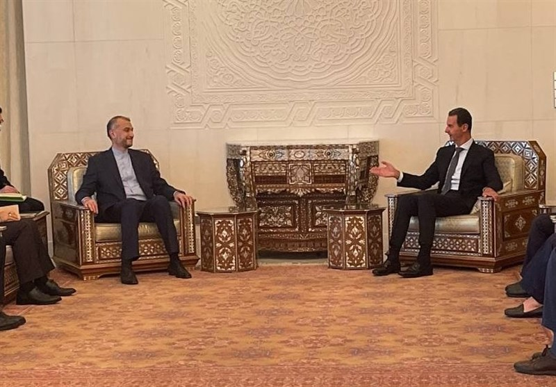 The meeting between the Syrian president and the Iranian minister of foreign affairs. (Tasnim, August 29)