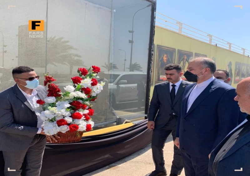 The Iranian foreign minister during a visit to the monument honoring the slain Qasem Soleimani and Abu Mahdi al-Muhandis in Baghdad. (Fars, August 28)