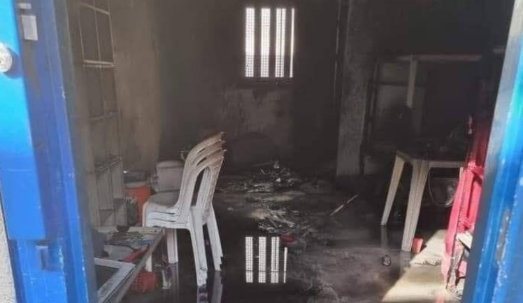 Cells torched by prisoners in the Ketziot prison (Israel Prison Service spokesman's unit, September 8, 2021).