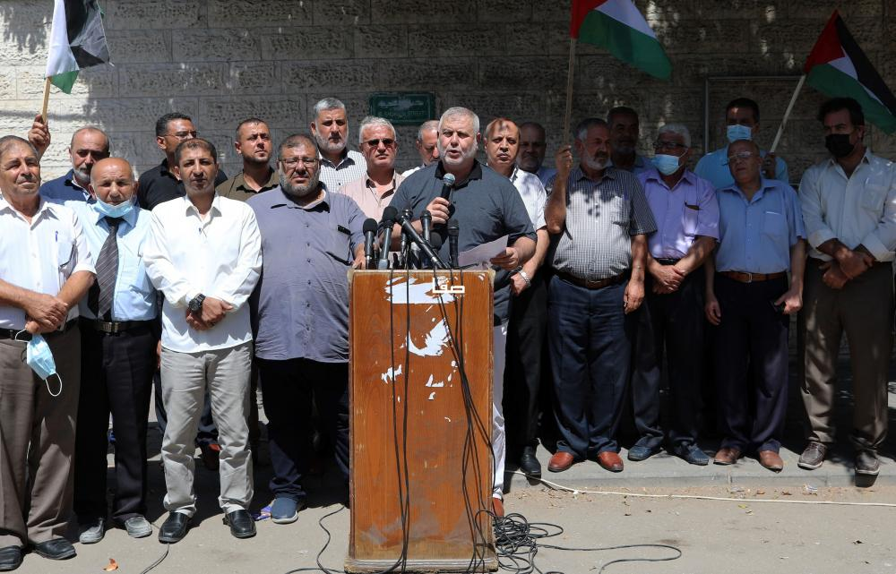 The Palestinian terrorist factions in the Gaza Strip hold a press conference (Safa, September 8, 2021).