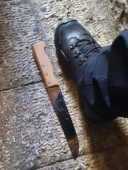 The knife used in the attack (Israel Police Force spokesman's unit, September 10, 2021).