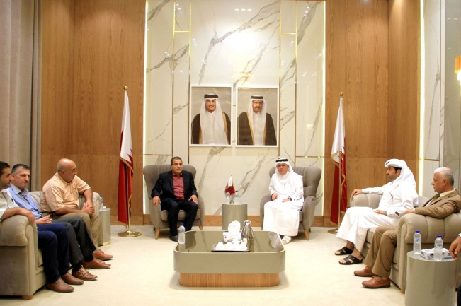 Mohammed al-Emadi meets with the chairman of the contractors' association in Gaza City (website of Qatar's National Committee for the Reconstruction of Gaza, September 7, 2021).