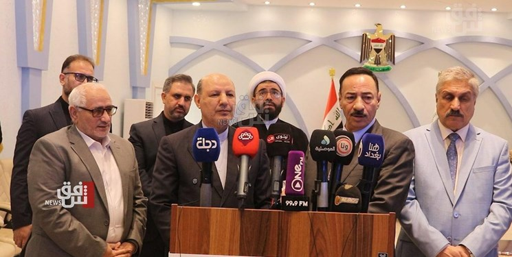 The press conference of the Iranian consul general to Erbil together with the governor of Ninewa province. Source: Fars, September 2