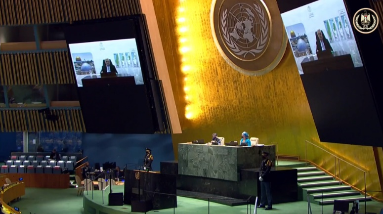 Mahmoud Abbas' recorded speech at the UN General Assembly (Mahmoud Abbas' Facebook page, September 24, 2021).