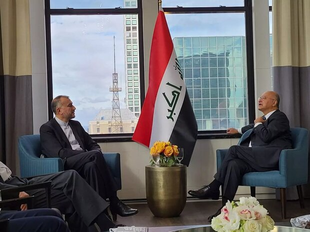 The meeting between the Iraqi president and Iranian minister of foreign affairs in New York. (Mehr, September 23)
