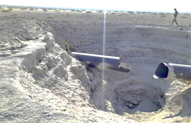 The gas pipe blown up by ISIS in the Damascus region (Al-Naba' weekly, Telegram, September 23, 2021)