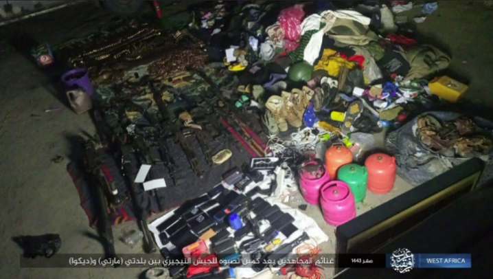 Equipment, weapons and ammunition seized by ISIS operatives (Telegram, September 24, 2021)