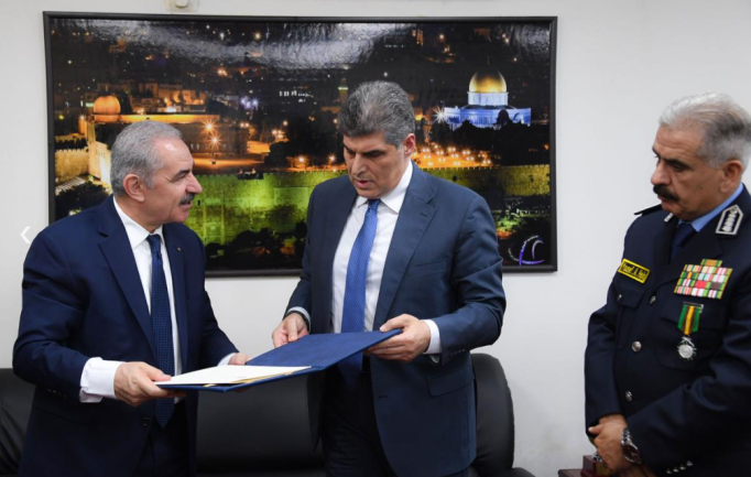 Appointing the new chief of police in Muhammad Shtayyeh's office (Wafa, October 5, 2021).